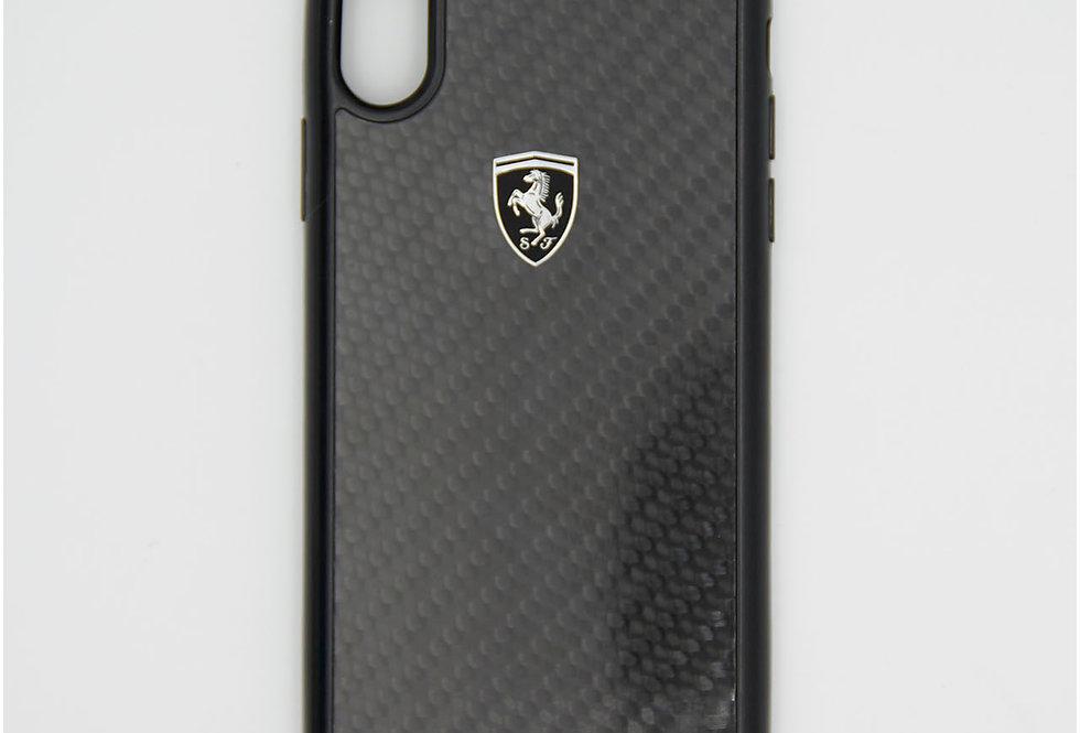 Стеклянный чехол на iPhone X под карбон FERRARI