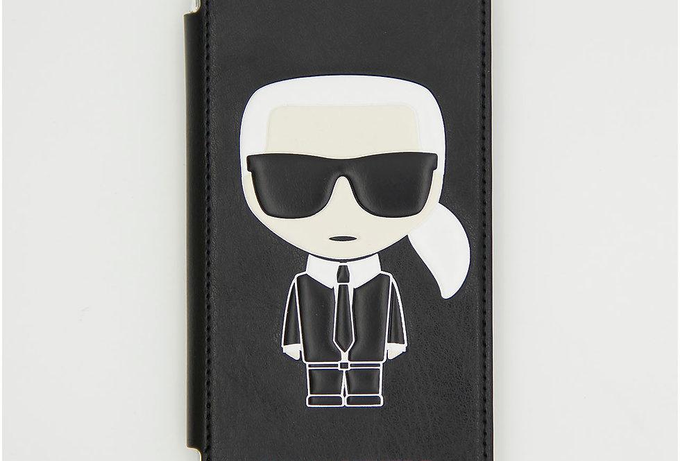 Кожаный чехол книжка на iPhone X Karl Lagerfeld