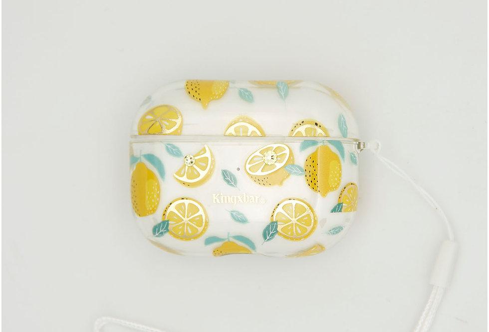 Чехол для AirPods Pro Kingxbar прозрачный пластик на фоне лимон