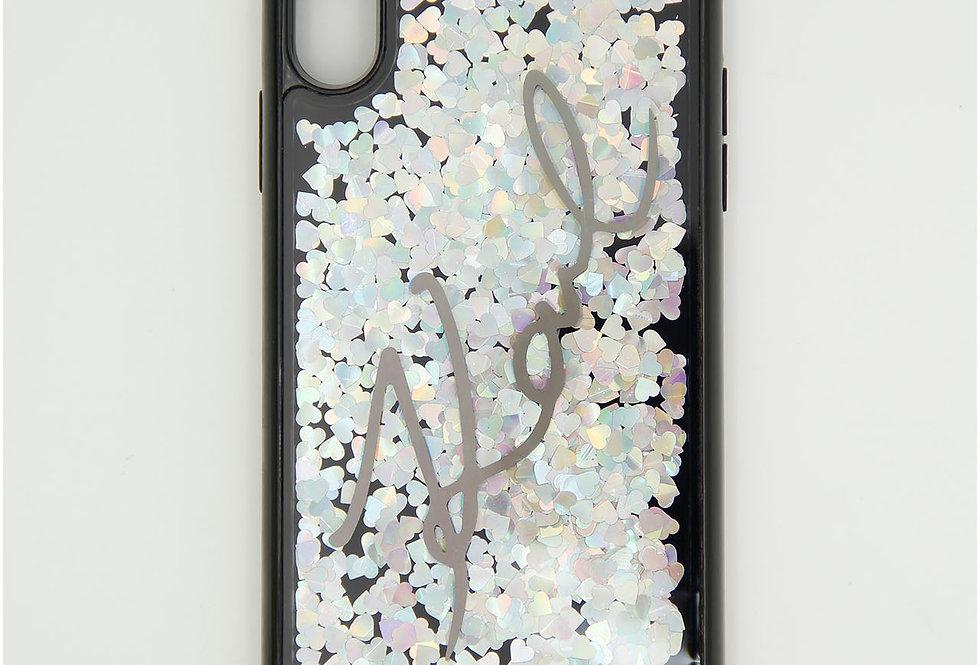 Силиконовый чехол c блестками на iPhone XS Max Karl Lagerfeld
