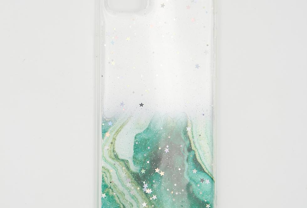 Чехол для iPhone Se 2020 пластик с силиконом под частичный мрамор с блестками