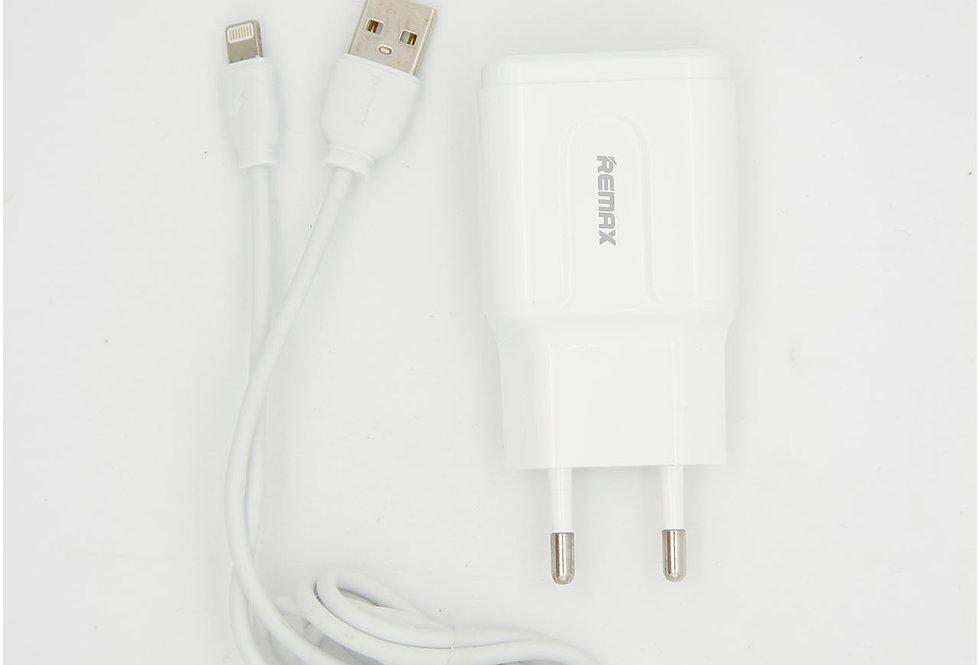 Комплект Сетевое зарядной устройство с проводом Lightning Remax