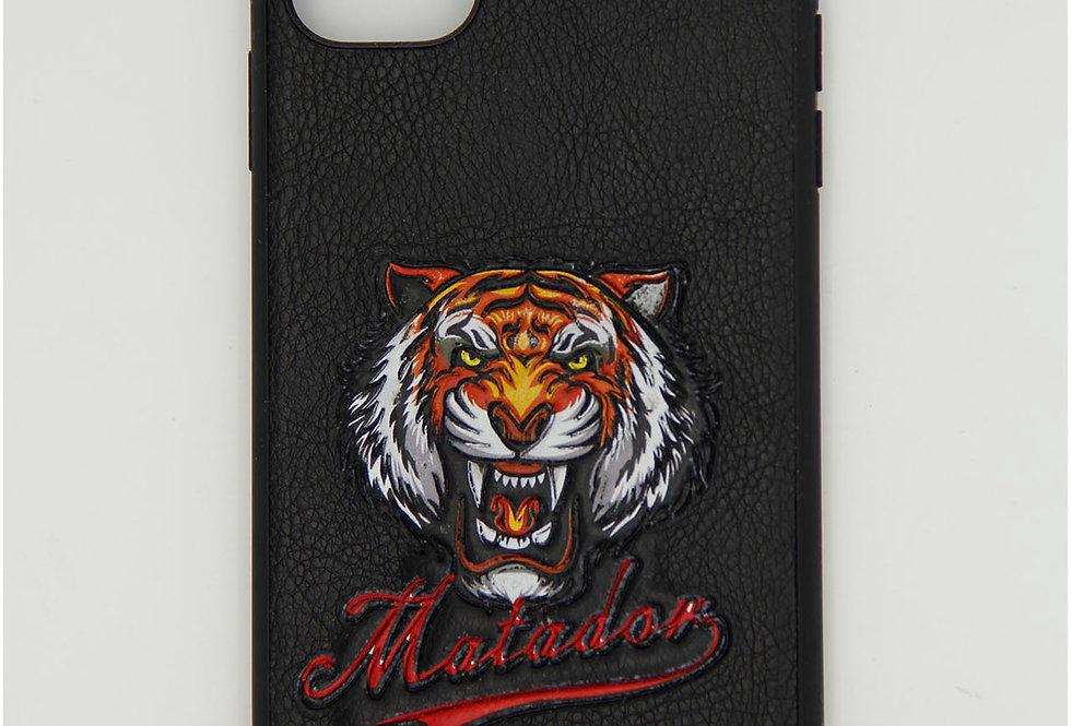 Чехол для iPhone 11 под кожу с головой  тигра