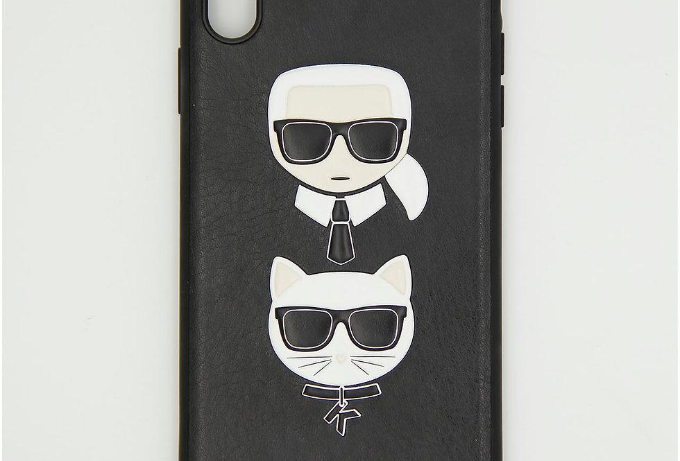 Кожаный чехол на iPhone X Max  Karl Lagerfeld
