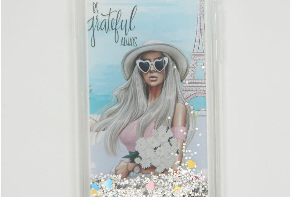 Чехол для iPhone 7/8 с жидкостью на фоне девушка в Париже