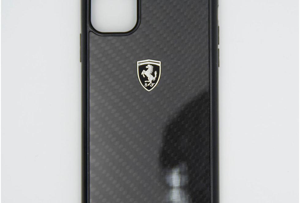 Стеклянный чехол на iPhone 11 под карбон FERRARI