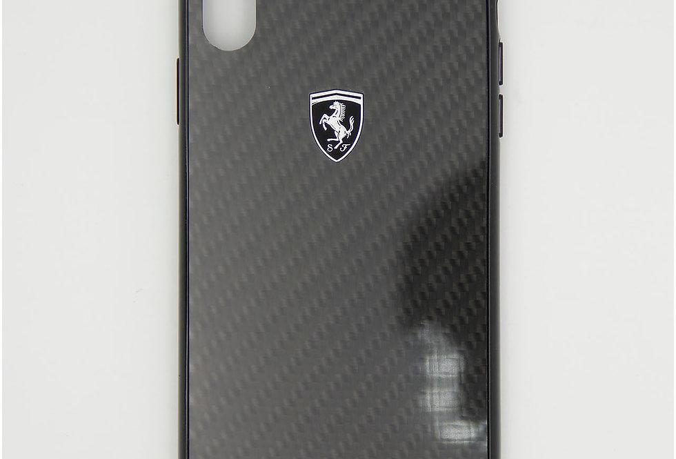 Стеклянный чехол на iPhone Xs Max под карбон FERRARI