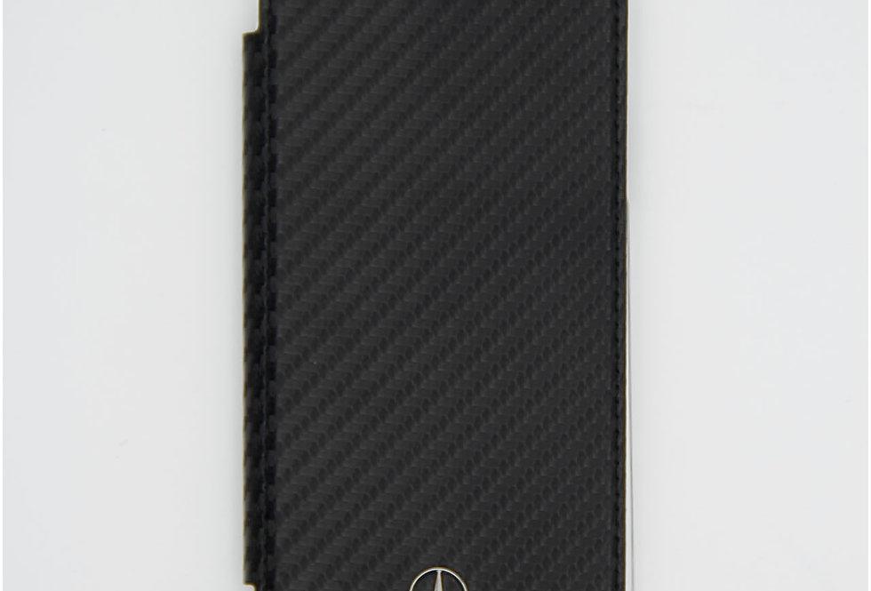 Книжка чехол кожаный на iPhone X под карбон Mercedes