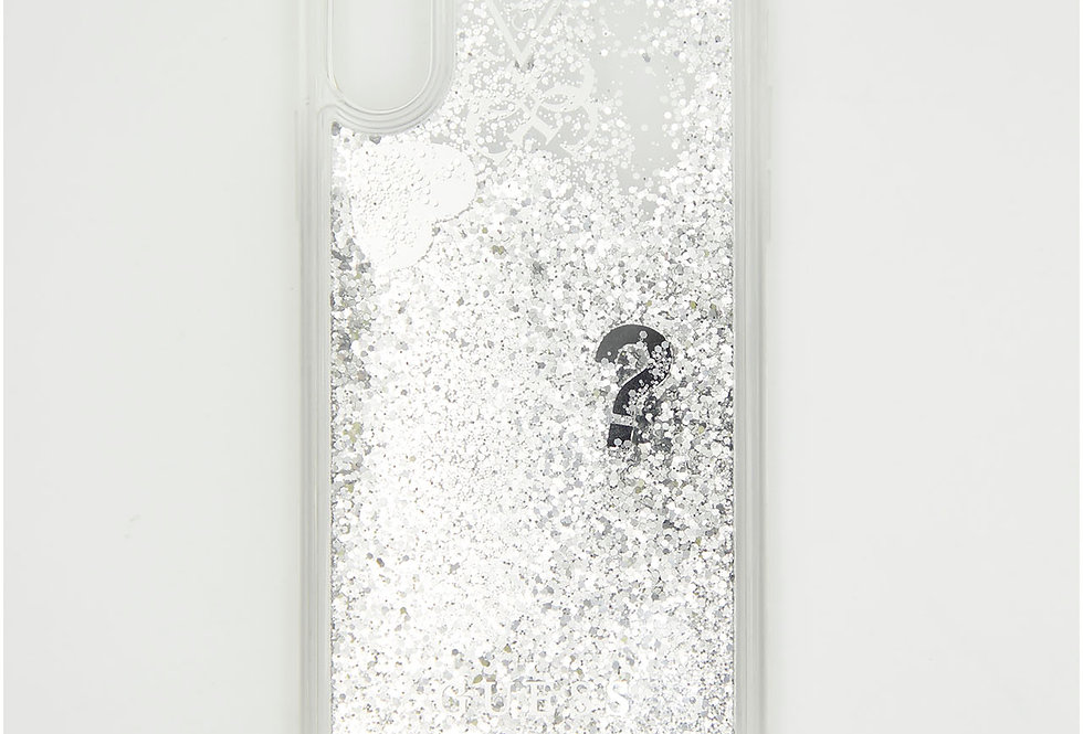 Силиконовый чехол c блестками на iPhone X GUESS