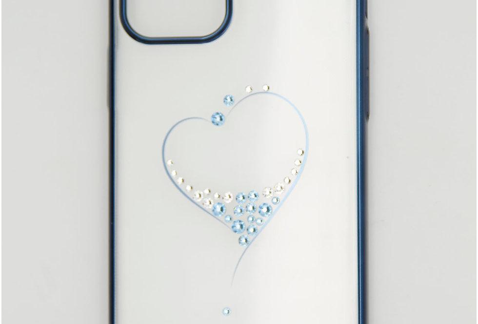 Чехол для iPhone 12 (6.1) прозрачный с сердцем и со стразами