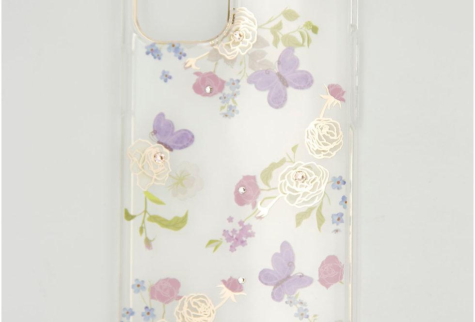 Чехол для iPhone 12 (5.4) Kingxbar прозрачный пластик с цветочками