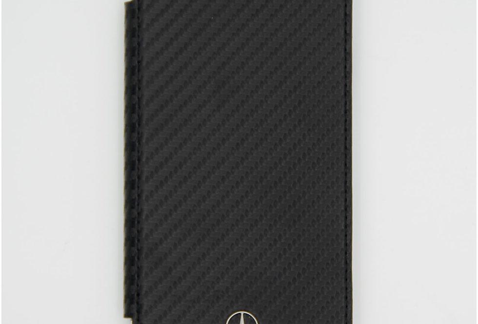 Книжка чехол кожаный на iPhone Xr под карбон Mercedes