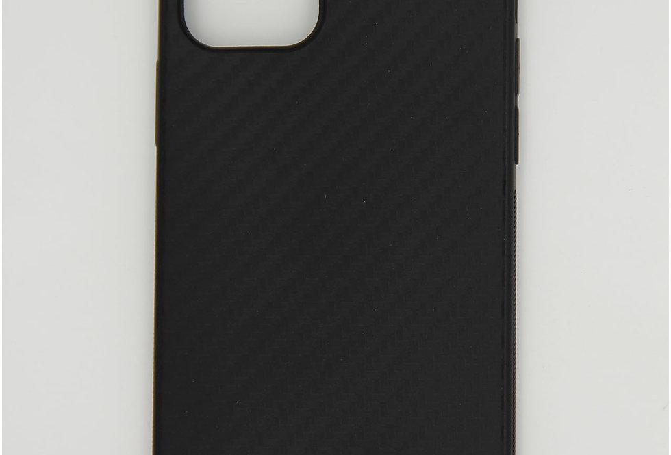 Чехол для iPhone 12 (6.1) черный силикон под карбон