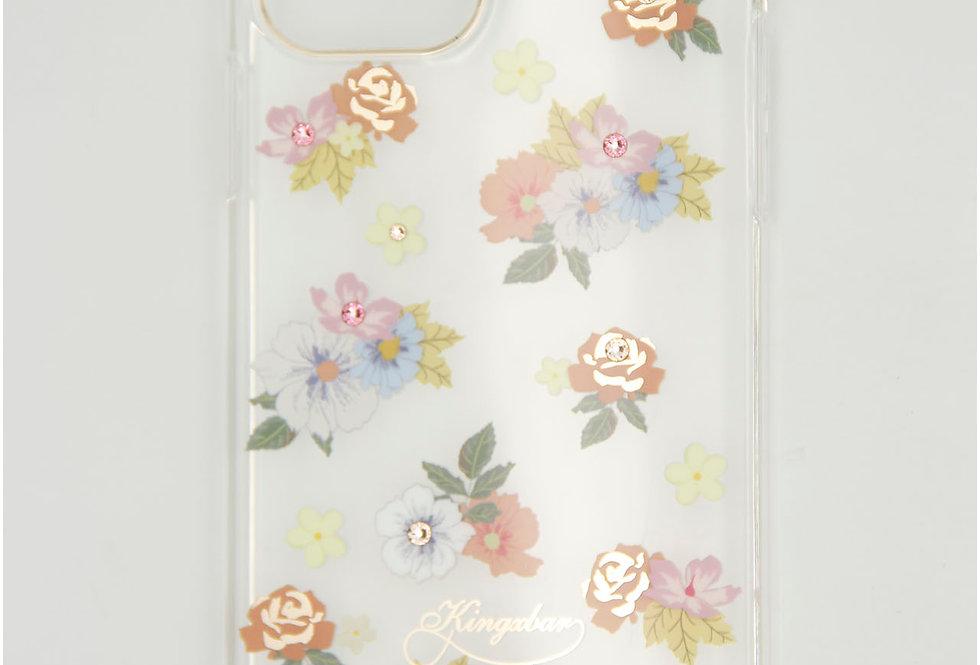 Чехол для iPhone 12 (6.1) Kingxbar прозрачный пластик с цветочками