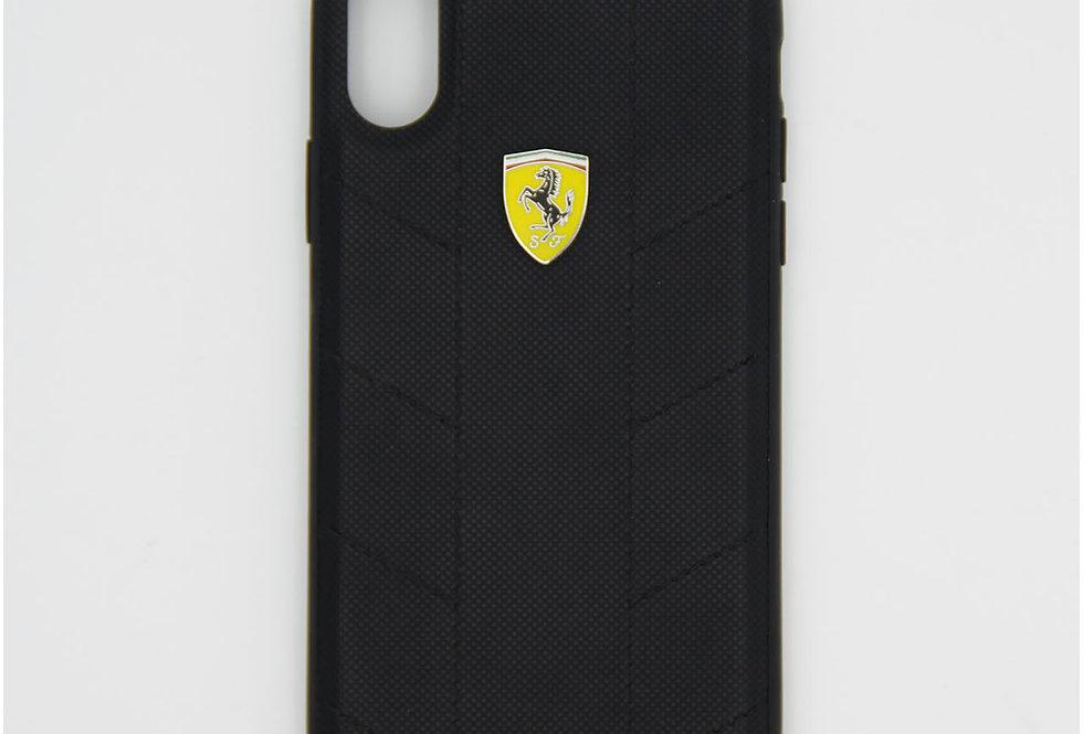 Кожаный чехол с алюминиевой вставкой на iPhone X Ferrari