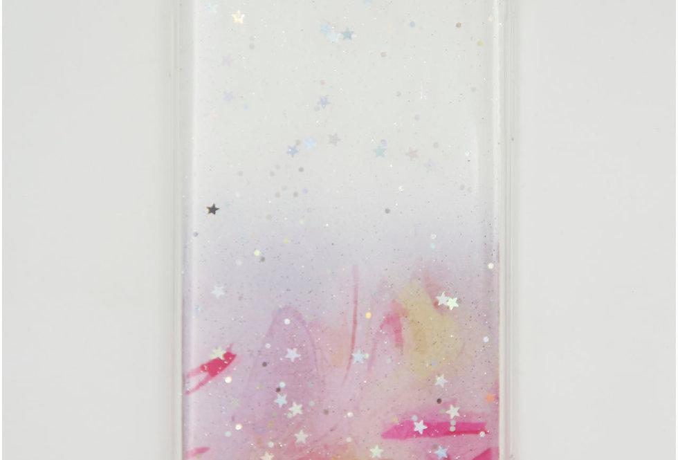 Чехол для iPhone 7/8 прозрачный пластик  с блестками и силиконовыми бортами