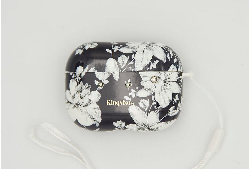 Чехол для AirPods Pro Kingxbar черный пластик с белыми цветами