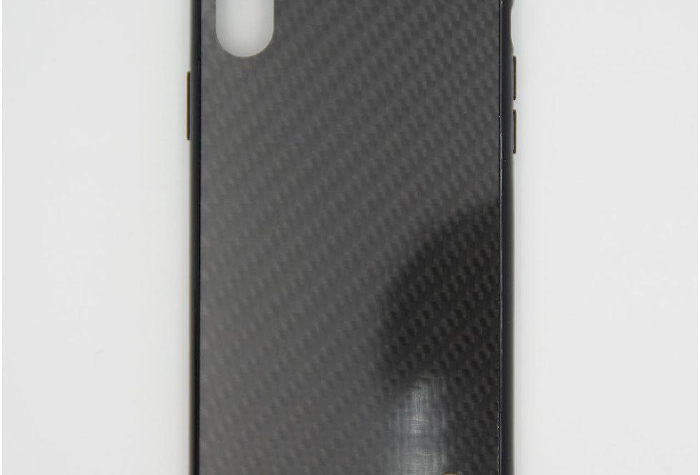 Стеклянный чехол на iPhone Xr с силиконовым бортом BMW