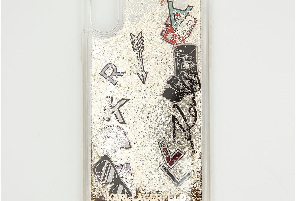 Силиконовый чехол c блестками на iPhone X/XS Karl Lagerfeld