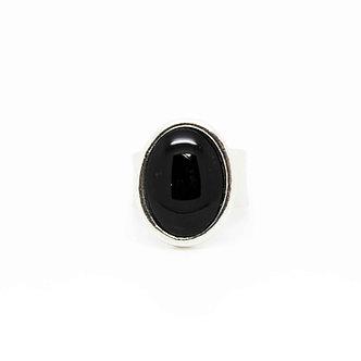 Bague ovale #3001 ''Miroir Noir''