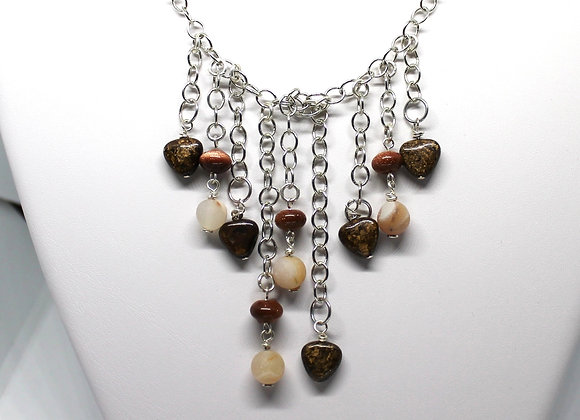 Mixed gemstone Waterfall necklace