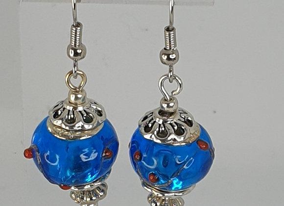 Dark blue glass bead earrings.
