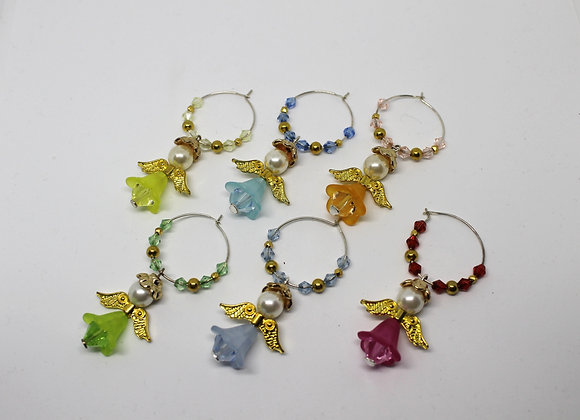 Lucite angels wine glass charms