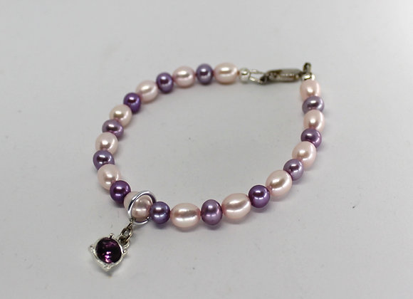 Lavender and pink  pearl bracelet.