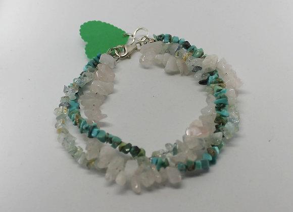 Triple strand bracelet. Aquamarine,Rose quartz & Turquoise