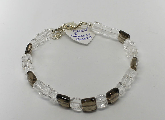 Clear and smokey quartz bracelet