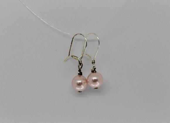 Pink shell pearl earrings