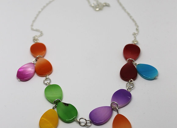 Multi-coloured shell necklace