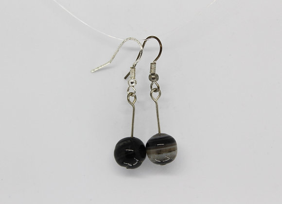 Black stripped agate earrings