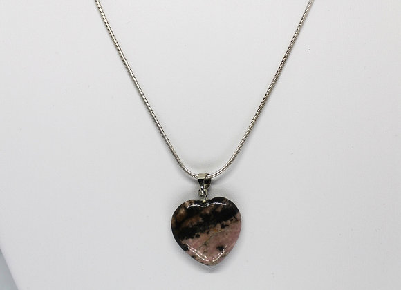 Rhodonite heart chain necklace