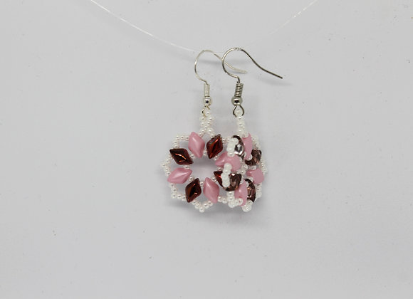 Pink and white seed beads earrings