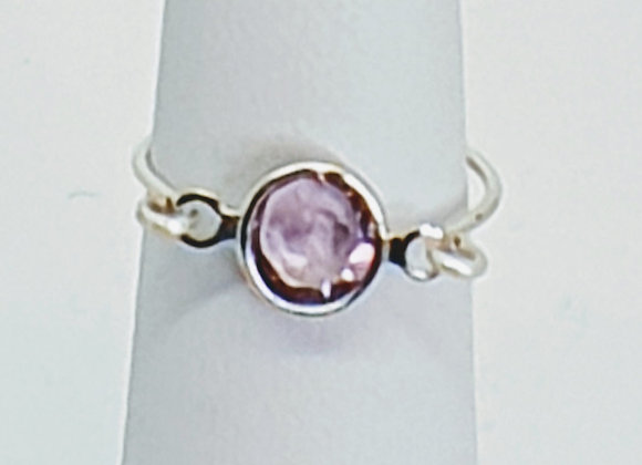 Sterling Silver Ring with Amethyst connecter