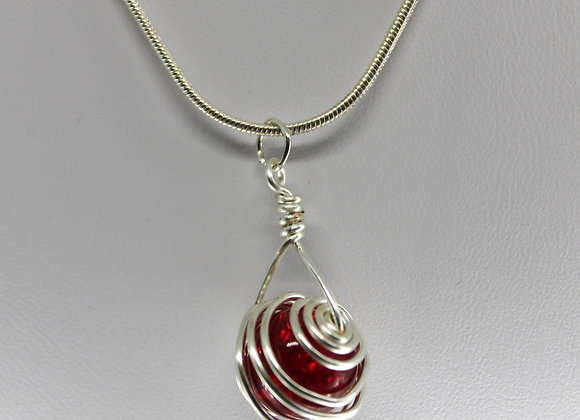 Red caged crackled glass bead necklace