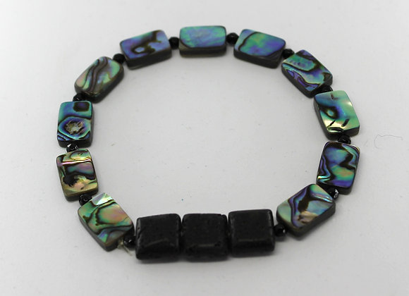 Abalone and lava rock defuser beads bracelet