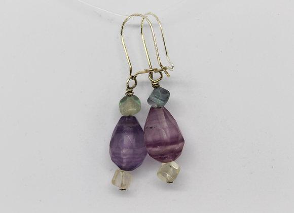 Purple flourite earrings