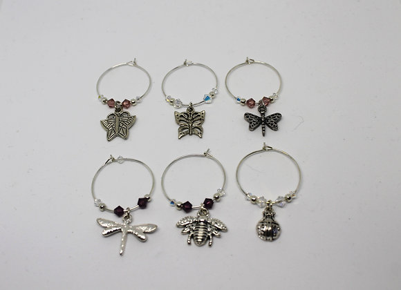 Insect wine glass charms