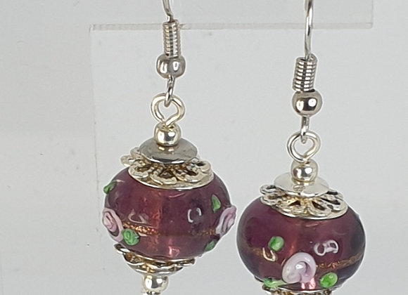Wine colour charm bead earrings