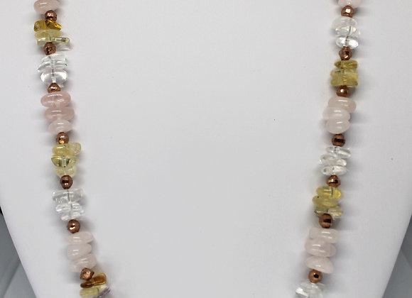 Citrine, clear andRose Quartz necklace.