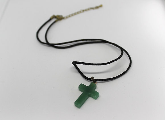 Green aventurine cross necklace