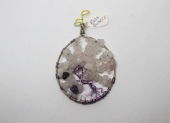 Rose quartz and amethyst tree of life pendant