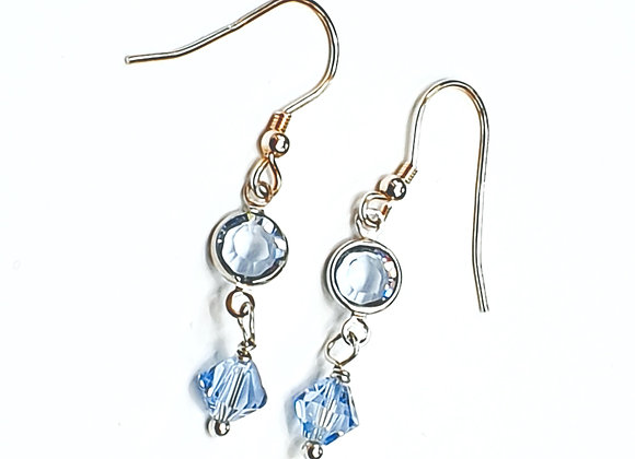 Stering  silver Blue Swarovski Elements Earrings