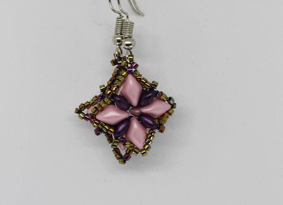 Pink and purple seed bead earrings