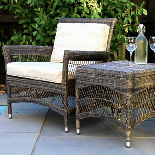 wicker outdoor chair. rattan outdoor chair. traditional outdoor furniture.