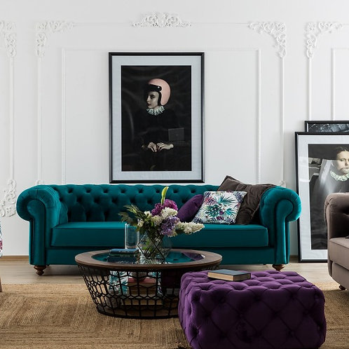 sofa.couch.furniture.living room.lounge room.buttoned sofa. chesterfield sofa.