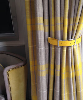 CHECK CURTAINS AND BELT TIEBACK.JPG