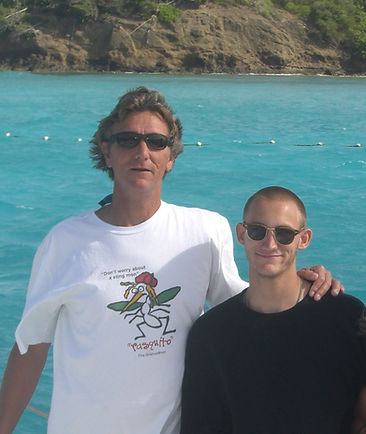 Jim Morris and his son James Morris on vacation